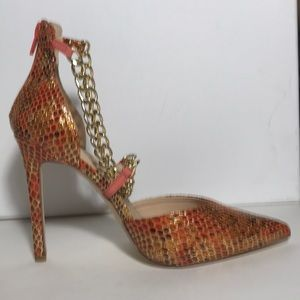 Shoe Dazzle Shoes - orange snake print with gold chains